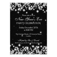 "Elegant  New Years Eve Winter Sparkle Black 5"" X 7"" Invitation Card"