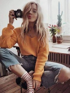 Yellow V-neck One-Shoulder Lantern Sleeve Casual Oversized Slouchy Pullover Swea., Spring Outfits, Yellow V-neck One-Shoulder Lantern Sleeve Casual Oversized Slouchy Pullover Sweater - Pullovers - Sweaters - Tops. Look Fashion, 90s Fashion, Fashion Beauty, Autumn Fashion, Fashion Outfits, Womens Fashion, Fashion Tips, Fashion Trends, Girl Fashion
