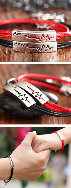 Matching Couple Bracelets Set ~ Black / Red Leather + Silver Tag ~ Love Gift @ iDream-Jewelry.Com