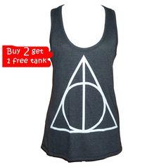 Triangle tank top size S M L XL XXL Harry Potter tops Light black singlet**sleeveless tank**racerback tank top**plus size