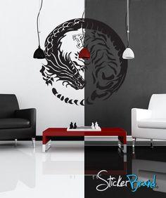 Vinyl Wall Decal Sticker Yin Yang Dragons #GFoster120 | Stickerbrand wall art decals, wall graphics and wall murals.