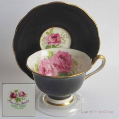 Royal Albert AMERICAN BEAUTY Black Bone China Tea Cup and Saucer by LauriesFineChina on Etsy