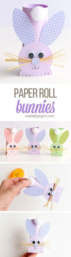 These paper roll bunnies are SO CUTE and really easy to make! You can make them from toilet paper rolls, or you can make your own rolls from colored paper. I love the adorable little cotton tail and the cute little whiskers! Such a fun Easter craft idea and a super cute spring craft to make with the kids!