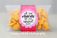 These were created using pillow boxes (the 3.5×5 size), a little satin ribbon, a 1.5 inch circle punch, a 2 inch scallop punch and some goldfish crackers.