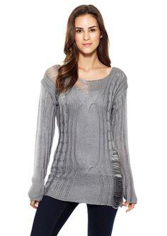 ASH RAIN + OAK Long Sleeve Cable Knit Sweater