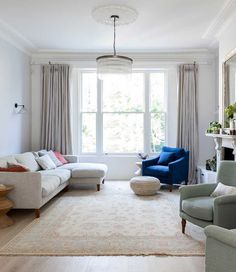 Imperfect Interiors interior design renovation of large Victorian family home house in Barnes London Victorian House Interiors, Victorian Living Room, Edwardian House, Victorian Homes, Living Room Decor, Living Spaces, Corner Sofa Living Room, London Living Room, House Beds