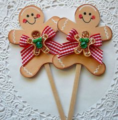 "Here are 2 handmade Lollipop embellishments/cupcake toppers.   These embellishments/cupcake toppers are great for scrapbooking, cardmaking, treat tins, loot bags, collaging or for a decorative touch.   Each Popsicle measures approx 2"" X 4"" with lollipop stick   If you have any questions feel free to contact me.   Thanks for looking and look forward to hearing from you!!  Make sure to Check out my other items!  Need a larger quanity send me a message!!"