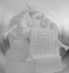 Knitting Hands Sculpture  This is a snow sculpture from Winterlude in Ottawa in February 2007. The sculpture was done by the Province of Alberta.