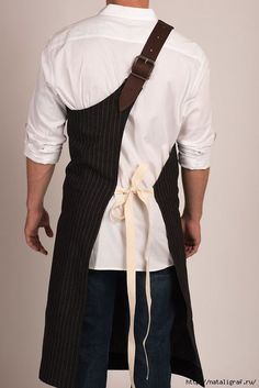 Butcher Apron: Pinstripe Grey or Pinstripe Black — Portland, OR Restaurant: The Country Cat Cute Aprons, Aprons For Men, Sewing Aprons, Sewing Clothes, Leather Apron, Uniform Design, Apron Designs, Work Wear, Menswear