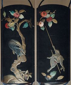 Case (Inrô) with Design of Monkeys Trying to get Persimmons with Stick (obverse); Hawk in Persimmon Tree (reverse)  Hanabusa Itchô  (Japanese, 1652–1724)  Date: 18th–19th century Culture: Japan Medium: Lacquer, roiro, gold, silver, brown and red hiramakie, various inlay; Interior: nashiji and fundame