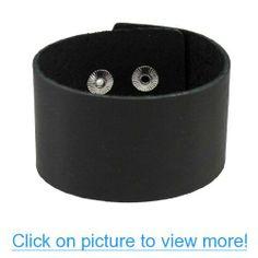Solid Black Leather Wristband Bracelet Wrist Band