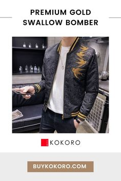 This unique bomber jacket features an embroidered body with black leaves on a black background, with accents of gold on the knit collar and cuffs. Premium Gold Swallow Bomber, Men's Fashion, Trendy Outfit, Traditional Dress, Fashion Blogger, Men's Style Inspiration, Men's Classy Style, Men's Street Style, Men's Formal Style! #bomberjacket #menswear #tokyostyle #japanesefashion #kokorostyle