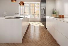 White Kitchen Interior Design With Modern Style 1 White Kitchen Interior, White Gloss Kitchen, Interior Design Kitchen, Black And Copper Kitchen, Kitchen Living, New Kitchen, Kitchen Decor, Kitchen Units, Living Room