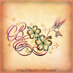 #Colibrì monogram BE #tattoo #hibiscus