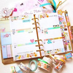 Daiso washi and Reset Girl stickers decorating my medium gold Kikki K planner.  by catherina.amor