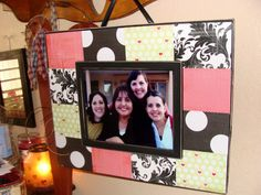 Mother's Day Gift Idea: DIY scrapbook-styled picture frame. If you know mom (or grandma, or anyone else) loves scrapbooking and you don't want to get them another predictable scrapbooking gift, try this!  Each one you make will be so unique. #mothersday