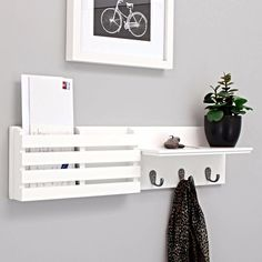 WALL MOUNTED MAIL Organizer Letter Holder Key Sorter Rack Hanger White Top Decor | Home & Garden, Home Décor, Wall Shelves | eBay!