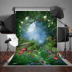 Amazon.com : SUSU 5x7ft Fairytale Photography Backdrops Forest Dreamlike Background Lighting Red Mushroom Photo Video : Electronics