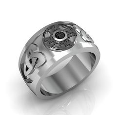 Black Diamond Ring    Sterling Silver Black por Majesticjewelry99