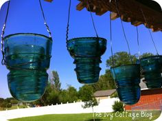 The Ivy Cottage Blog: Vintage Glass Telephone Insulators made into candle Holders!