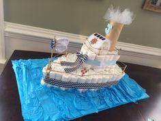 Diaper boat cake! So much fun and creative!