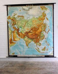 Large+Mid+Century+German+School+Map+Of+Asia+Circa+1960