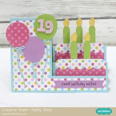 Side Step Card Tutorial with Kathy – Lori Whitlock Birthday Cards For Boys, Handmade Birthday Cards, Card Birthday, Birthday Cakes, Fancy Fold Cards, Folded Cards, Pop Up Cards, Cute Cards, Easy Cards