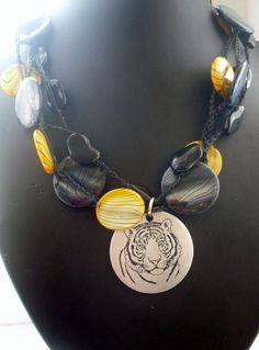 Creeping Tiger Crochet Necklace by FleasKnees on Etsy, $20.00