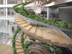 Estas escaleras fueron creadas por el diseñador Paul Cocksedge, quien trató de crear unas escaleras que funcionaran como un jardín.
