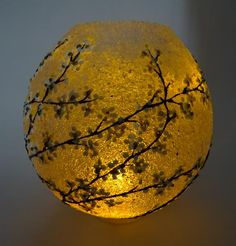 Illuminated Blossom by Paula Horsley. 3D pen sculpture with LED candle. ABS and EVA plastic. Luminaria.