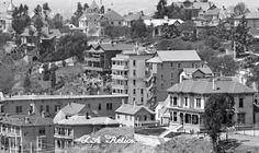 """""""French Flats"""" in 1895 (center) in Bunker Hill. """"Looking south on Broadway from Court house, Los Angeles"""" Source -- USC Digital Library, California Historical Society Collection."""