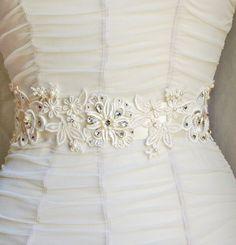 Bridal Sash, Lace Sash, Rhinestone Beaded Sash, Wedding Sash, Ivory Sash, Pearl Sash, Wedding Accessories, Ivory, Belt, Sash. $119.95, via Etsy.