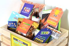 Gamer Gift Basket Snacks and Free Printable Tags - makes a super easy gift idea!