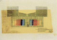 Louis I. Kahn / First Unitarian Church Collection - Architectural Archives, University of Pennsylvania - Philadelphia Architects and Buildings Louis Kahn, University Of Pennsylvania, Graduation Project, Van Gogh, Philadelphia, Sketches, Diagram, Drawings, Buildings