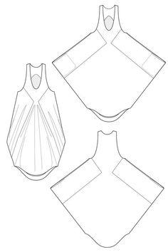 Phaedra drape - parachute dress. flat drawing by Ralph Pink