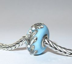 Luccicare Lampwork Bead  Blue Twig   Lined with by Luccicare