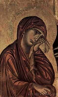 Crucifixion, Tondo: Blessing Christ, the Crucifixion, Mary and John. Detail of Mary. 1268-1271