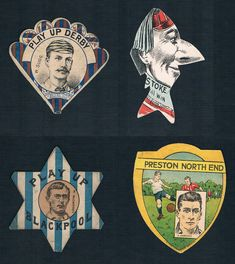 Blackpool F.C. on a card made for the Stanley Hotel, 1887, a very late Baines Preston North End card, c.1925 with the player Rawlings; the legendary Sugg, captain of Derby County and an all-round incredible sportsman on a Baines fan card, c,1889; and a lapel buttonhole card for Stoke City, c1880s-1890, by W.N. Sharpe. Soccer Cards, Football Cards, World Football, Football Soccer, Blackpool Fc, The Stanley Hotel, Preston North End, Derby County, Stoke City