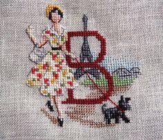 В поисках вдохновения: Алфавит Парижанки по-русски от Les Brodeuses Parisiennes Cross Stitch Letters, Cross Stitch Art, Cross Stitch Flowers, Cross Stitching, Cross Stitch Embroidery, Vintage Cross Stitches, Vintage Embroidery, Stitches Wow, French Alphabet