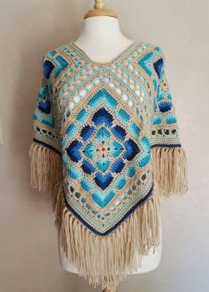 Crochet Poncho Boho Retro Gyps