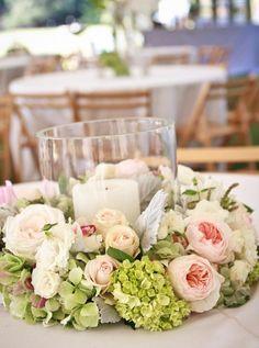 candle and wreath centerpiecez #winterwedding #weddingcenterpiece