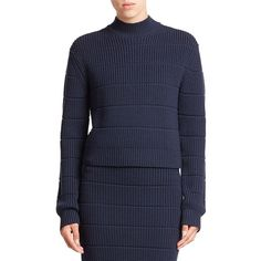 Marc by Marc Jacobs Ribbed Wool Turtleneck Sweater ($210) ❤ liked on Polyvore featuring tops, sweaters, apparel & accessories, bright navy, wool zip sweater, ribbed turtleneck sweater, blue turtleneck, navy blue sweater and turtleneck sweater