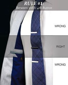 Perfect placement for your tie bar/clip? Let's nip this question in the butt right now. The following posts will help you solve this Tailored Gentleman dilemma. Photo courtesy: tie-a-tie.net