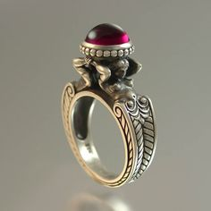 Ring | Sergey Zhiboedov. Made of sterling silver and adorned with a lab grown ruby
