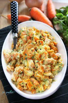 sio-smutki! Monika od kuchni: Marchewka w lekkim sosie musztardowym z ziołami Shrimp, Side Dishes, Salads, Diet, Food, Essen, Meals, Banting, Yemek