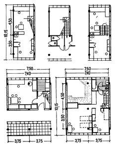 62. Пространственные жилые ячейки типа Ф, разработанные в секции типизации Стройкома РСФСР и использованные в доме на Новинском бульваре