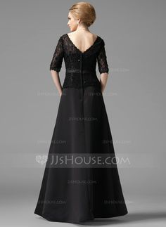 A-Line/Princess V-neck Floor-Length Satin Lace Mother of the Bride Dress With Beading Bow(s) (008002216)