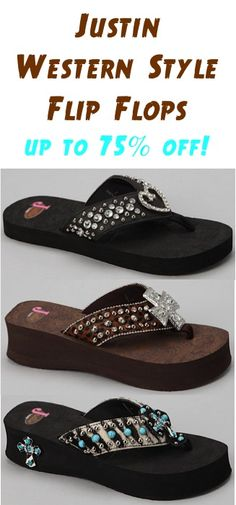 Justin Western Style Flip Flops ~ up to 75% off! #flipflops
