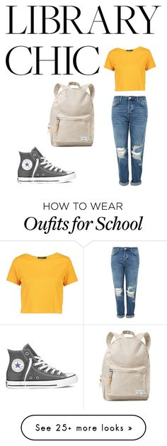 """""""After school studying"""" by jfk-enidy on Polyvore featuring Topshop, Boohoo, Herschel Supply Co. and Converse"""