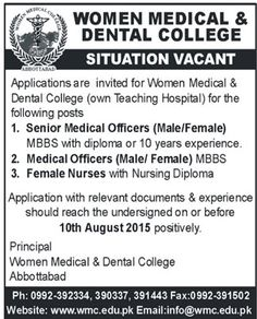 Women Medical And Dental College Abbottabad Jobs 2015